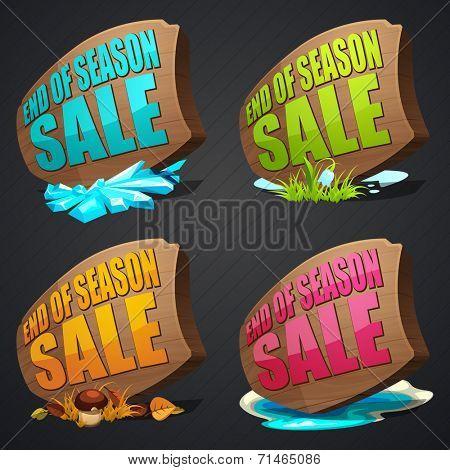 set of vector season sales labels