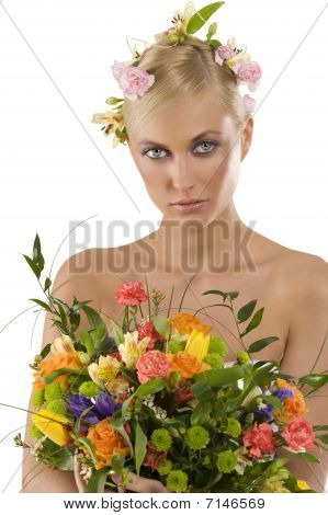 Spring Woman With Flowers Bouquet