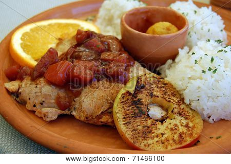 Turkey Meat With Fruits And Rice