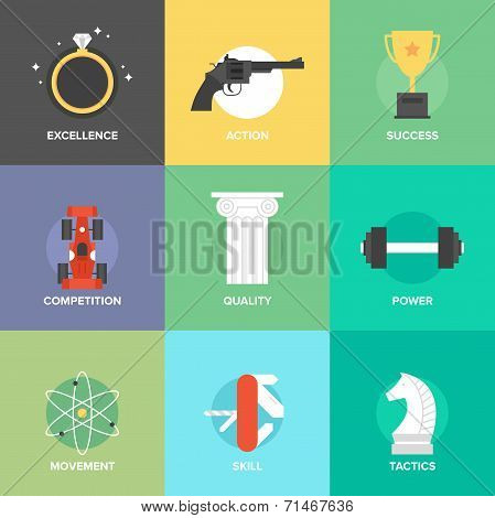 Business Improvement Skills Flat Icons Set
