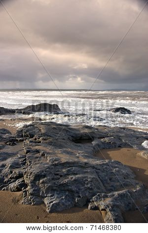 Black Rocks On Ballybunion Beach