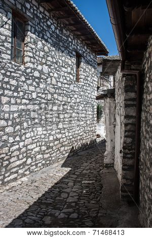 Albanian Berat ancient medieval stone street with old houses