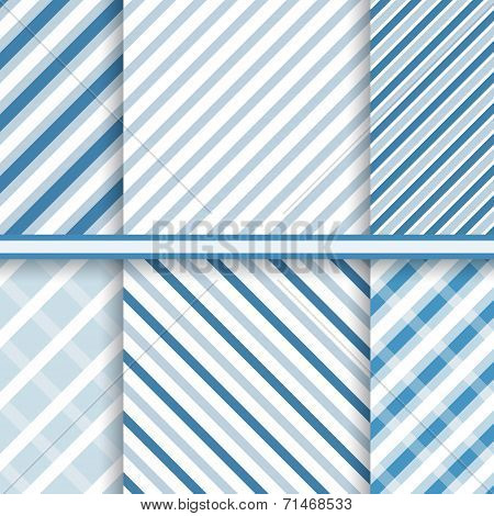 Bright elegant diagonal stripes - set of seamless patterns