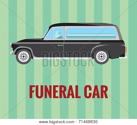 Funeral car (hearse) with a driver and a coffin (vector drawing)