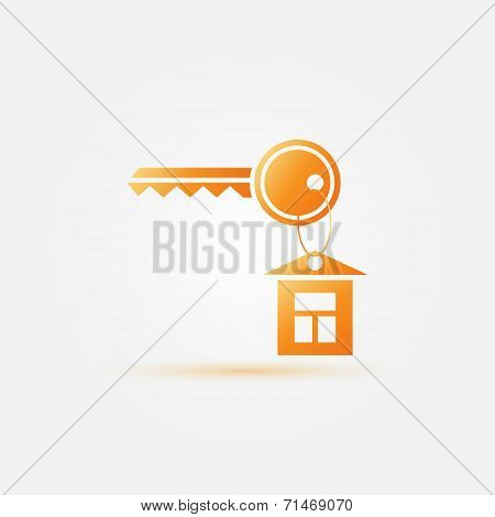 Yellow simple keychain icon - vector key symbol with a house