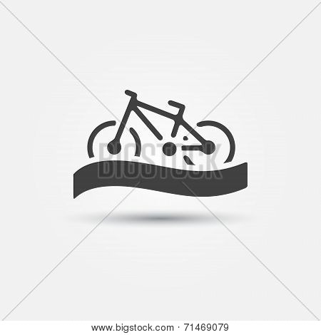 Bicycle tourism vector icon - simple bike symbol