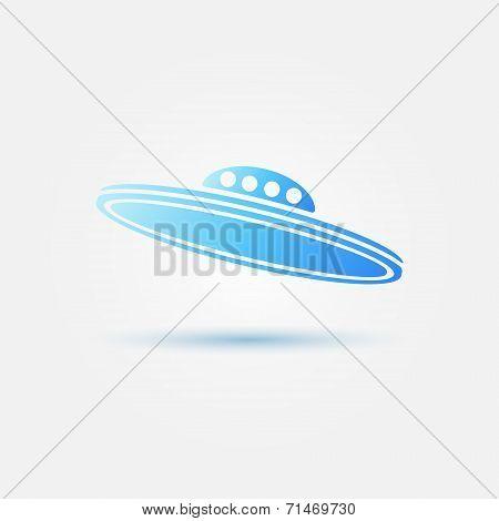 Blue bright vector UFO icon
