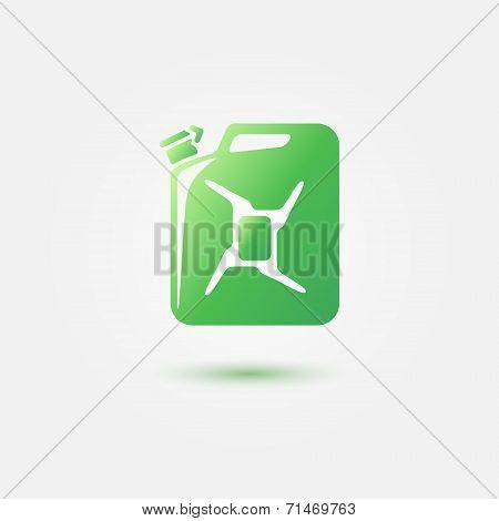 Green auto gasoline tank vector icon