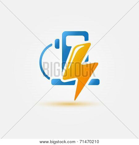 Bright electric fueling stations icon - vector concept of electromobile Charge station
