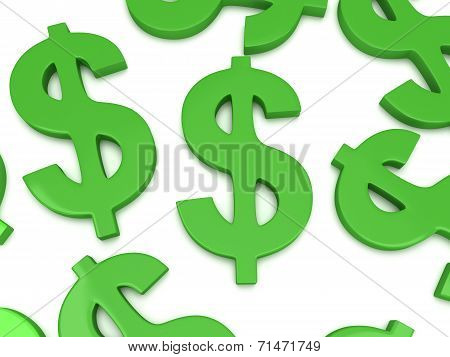 3D Dollar Signs On White