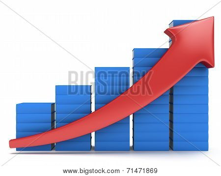 Blue Books Graph With Red Arrow