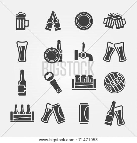 Beer vector icons set - black beer symbols