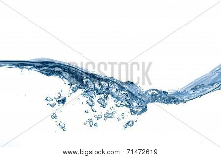 Clear, blue splashing water on white isolated background