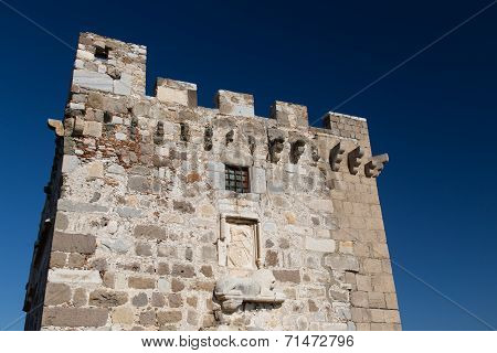 Tower Of Bodrum Castle In Aegean Turkey