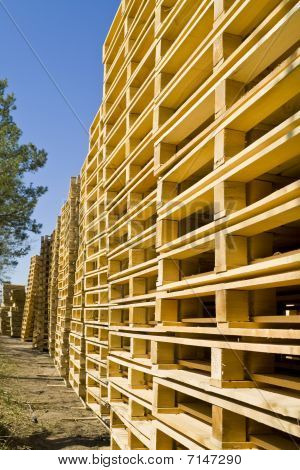Wooden shipping pallets