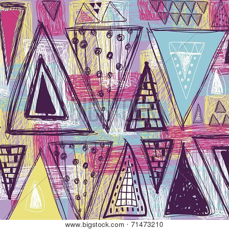 Abstract ethnic seamless pattern in style of primitive culture.Triangles  pattern.