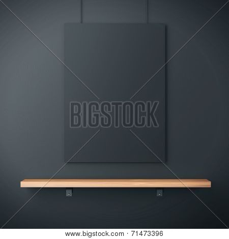 Black Wall With Shelf And Black Poster