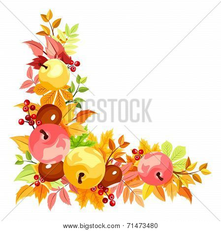 Vector corner with colorful autumn leaves.