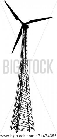 illustration with wind power generator silhouette isolated on white background