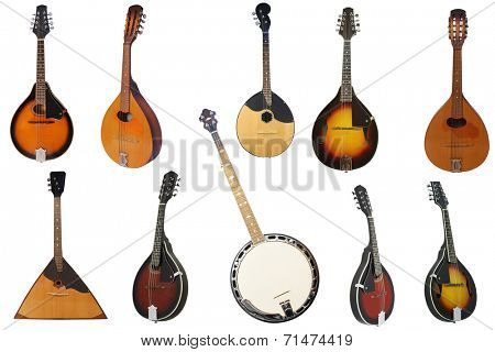 the image of mandolins and other instruments under the white background