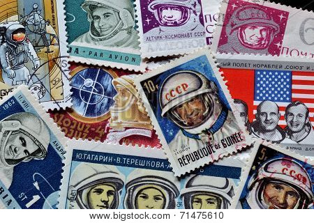 Astronauts on stamps