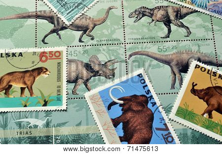 Dinosaurs on stamps