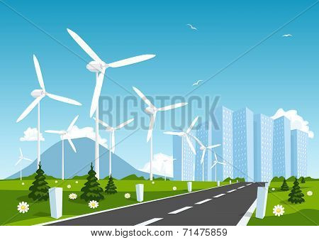 Road Into The City Around Wind Power Station. Vector