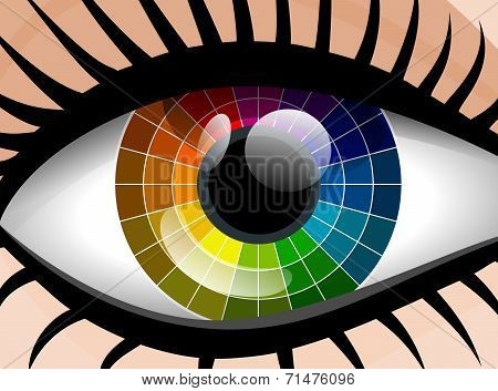 Vector Colorful Palette Woman Eye