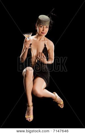 Sexy Woman  With Glass Of Cocktail