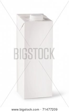 milk white carton package on a white background