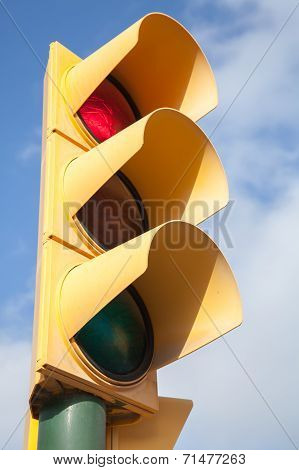 Yellow Traffic Light Shows Red Stop Signal