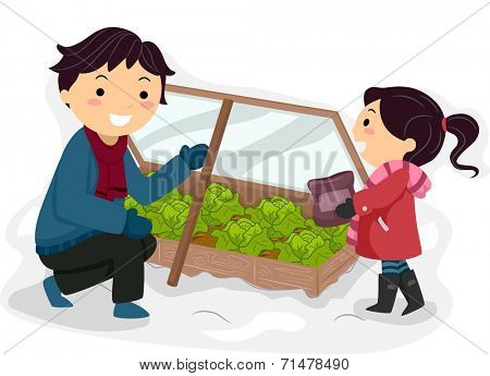 Illustration Featuring a Father and Daughter Tending to Their Winter Garden