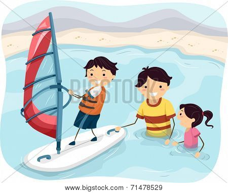 Illustration Featuring a Father Teaching His Kids How to Windsurf