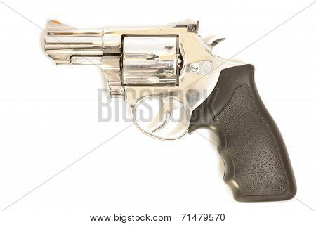 Revolvers On White Background.
