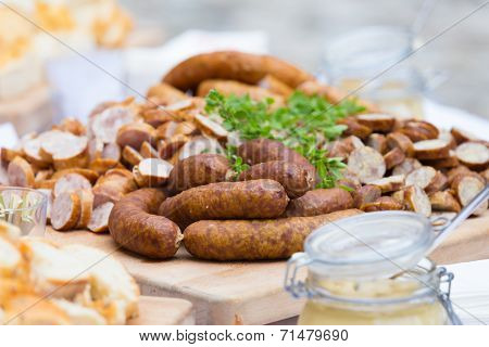 Smoked dry sausage cold cuts.