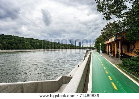 Bicycle Path Along The River Quay
