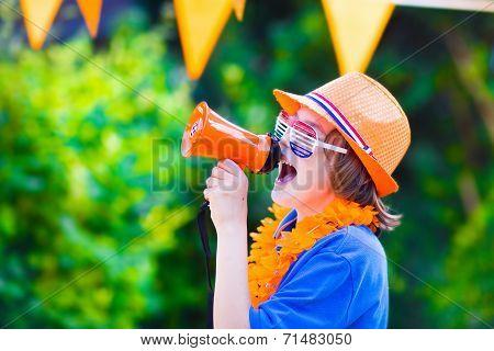 Dutch Football Fan, Little Boy Cheering