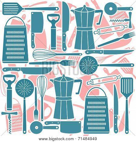 Seamless Pattern Of Kitchen Tools