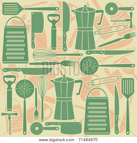 Seamless Pattern Of Kitchen Tools