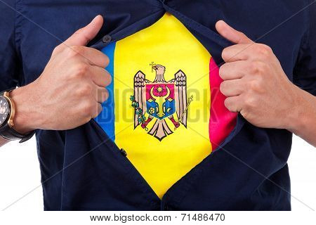 Young Sport Fan Opening His Shirt And Showing The Flag His Country Moldavia, Moldavian Flag