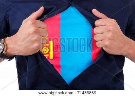 Young Sport Fan Opening His Shirt And Showing The Flag His Country Mongolia, Mongolian Flag