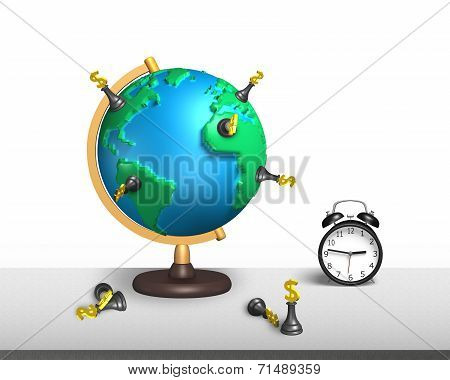 Chess Stand On 3D Map Terrestrial Globe With Clock