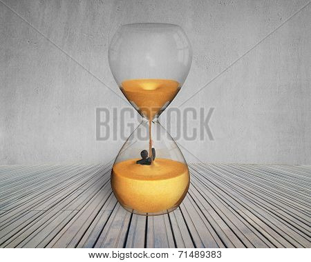 Business Man Flooded In Hourglass