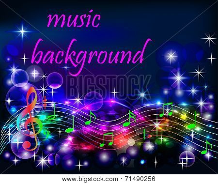 Ibright Shiny Neon Background Music With Notes