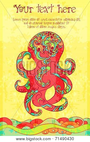 Vector Grunge Hand Drawn Colorful Banner With Funny Tattooed Octopus And Waves