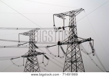 The high-voltage wire tower