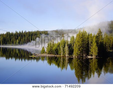 Steam Over The Yellowstone Lake