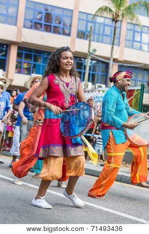 Victoria, Seychelles - April 26, 2014:  Group Of Performers At The Carnaval International De Victori
