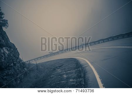Foggy Curved Road