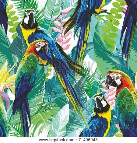 colorful parrots and exotic flowers